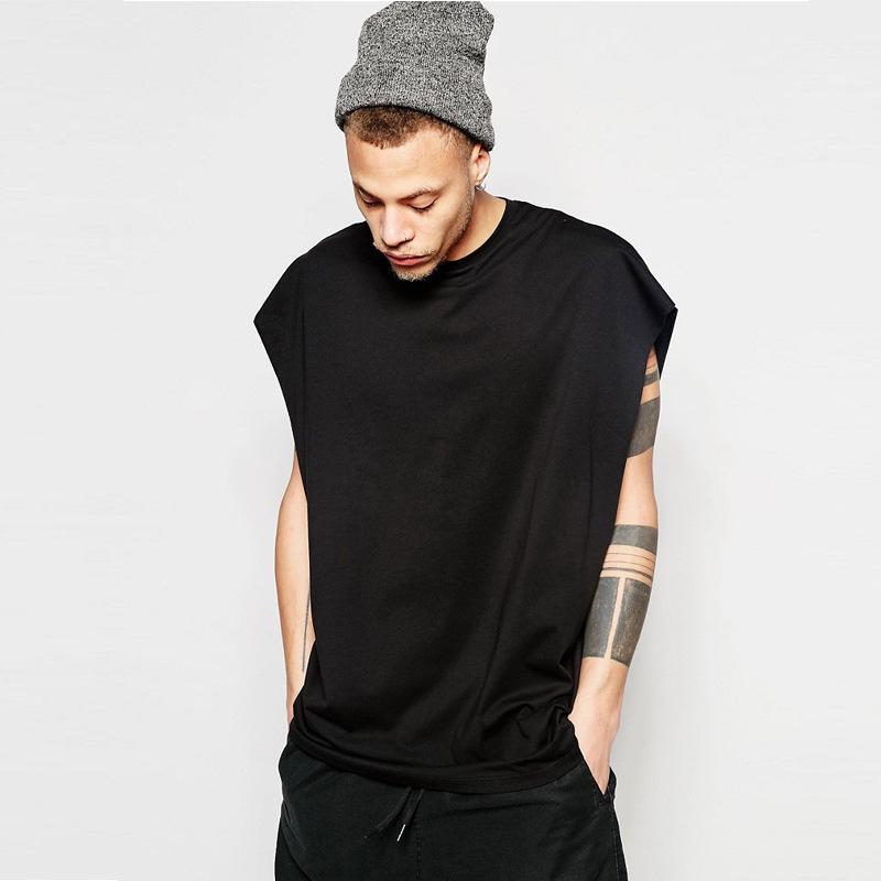 Мужские футболки без рукавов свободно спортивный жилет футболка высокая улица хип-хоп сплошной цвет O-шеи повседневная одежда свободная топ S-XL