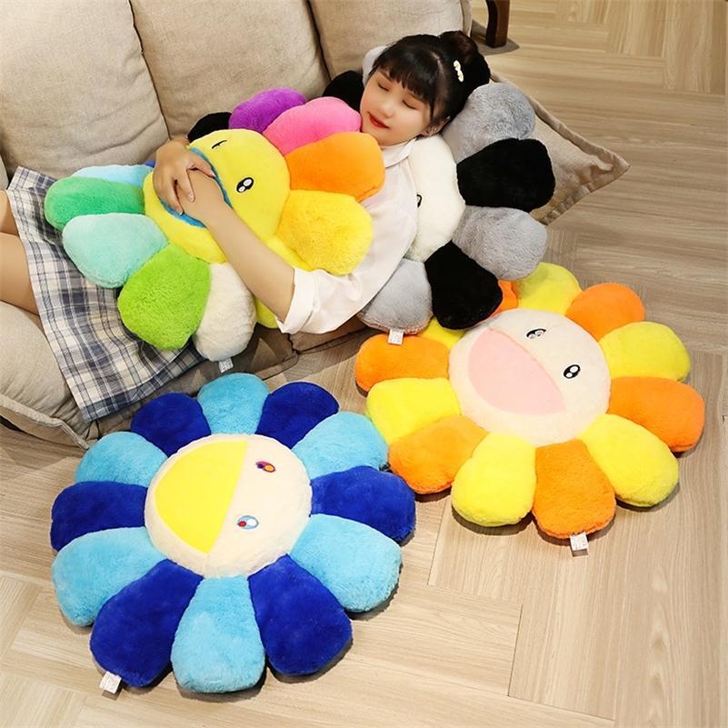 Girasol de peluche almohada colorido flor suave muñeca para niños Mat de piso bebé Playmat de la decoración del hogar regalo para la novia 201217