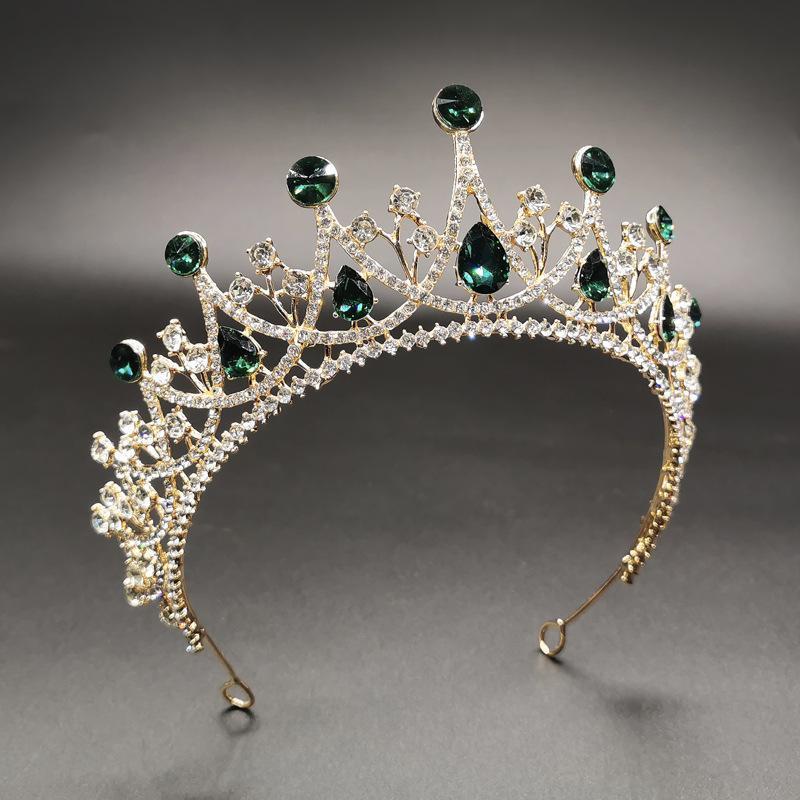 Saç Aksesuarları Vintage Kristal Rhinestone Gelin Düğün Kraliçe Taç Tiara Başlığı Kafa TOCADO Novia Flores