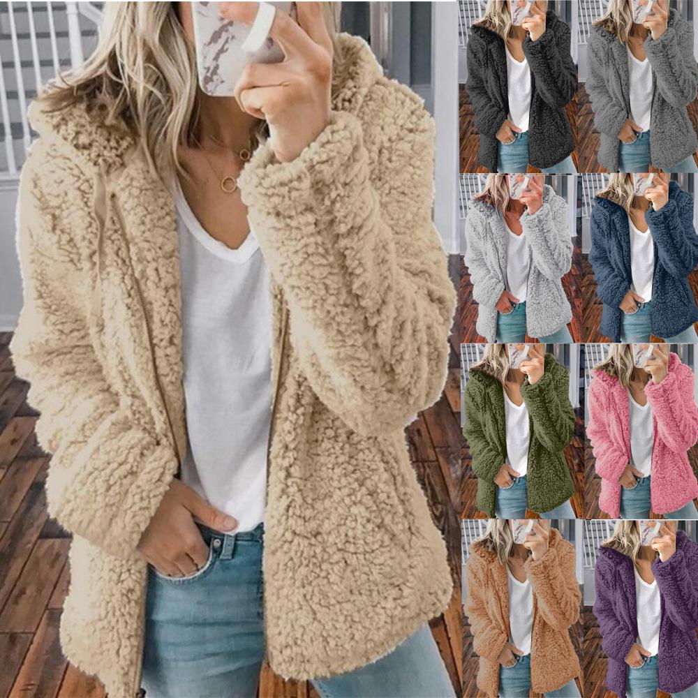 9 색 S-3XL Womens 플러스 사이즈 테디 베어 솜털 코트 숙녀 겨울 따뜻한 양털 재킷 outwear 36631851483880