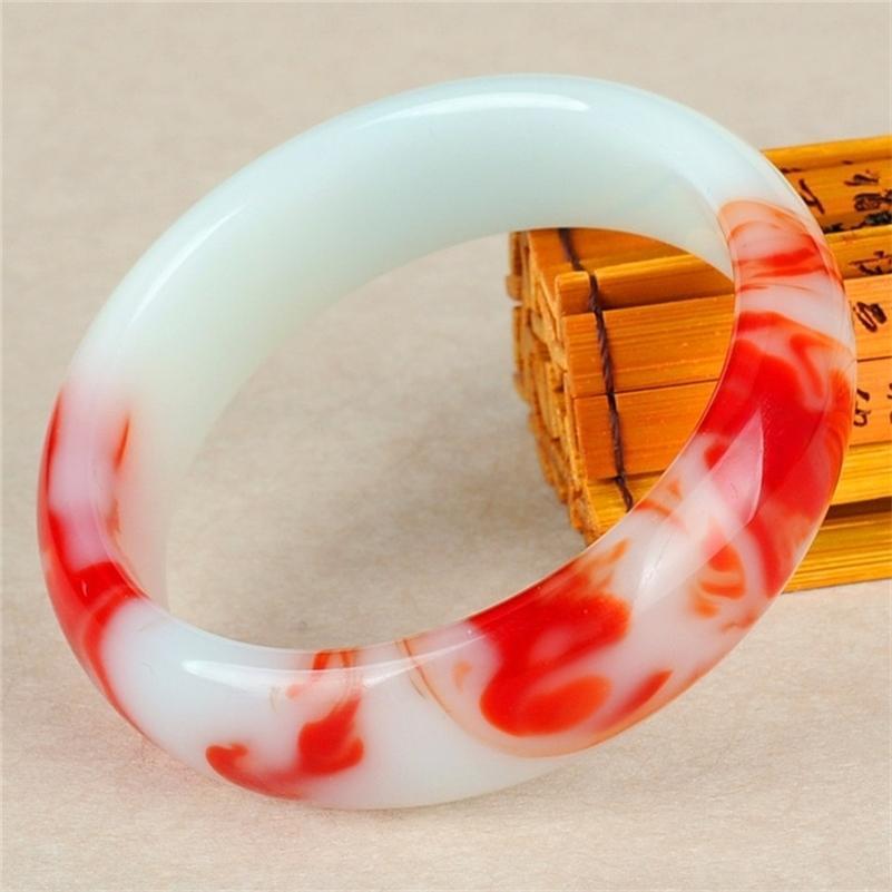 حقيقي اللون الطبيعي اليشم الإسورة الحمراء أبيض سوار سحر مجوهرات الاكسسوارات الأزياء منحوتة تميمة الهدايا للنساء الرجال لها 201211