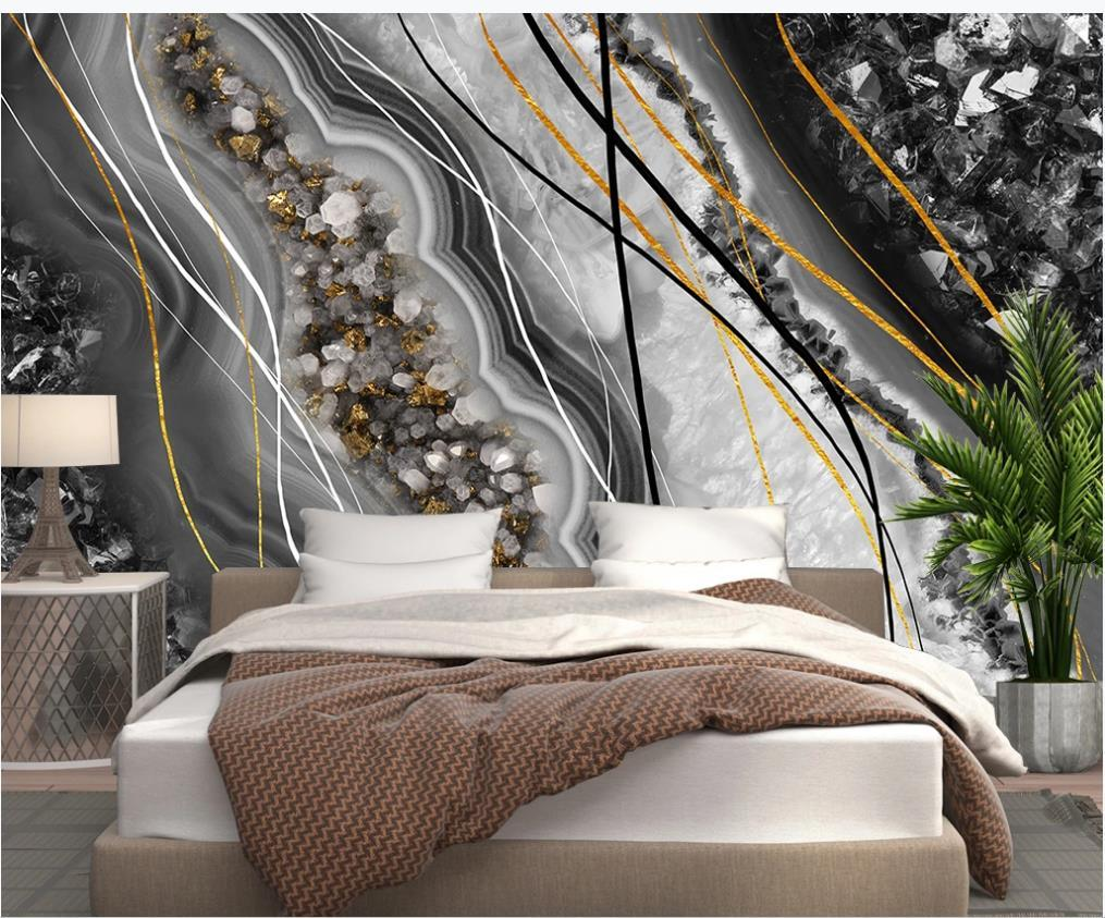 Modern 3d murals wallpaper for living room light luxury abstract marble wallpapers TV background wall