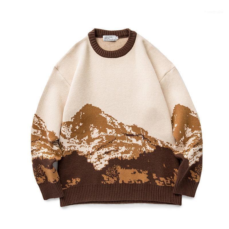 Suéter dos homens Toloer Homens Harajuku Moutain Inverno 2021 Pulôver Mens Casuais Formas Camisola Mulheres Vintage roupas Casal Wear1