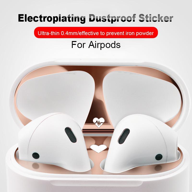 Metall staubdichter Aufkleber für Apple Airpods 2 1 Gehäuseabdeckung Zubehör ultradünn Schutzhülle Aufkleber haut selbstklebender Film