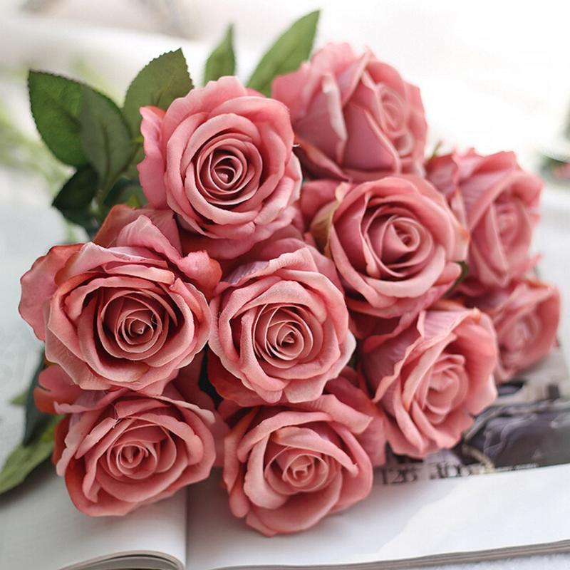 Dekoratif Çiçekler Çelenkler 10 Kafaları Güller Yapay Sahte Flanel Çiçek Gelin Buket Düğün Ev Dekor # 30