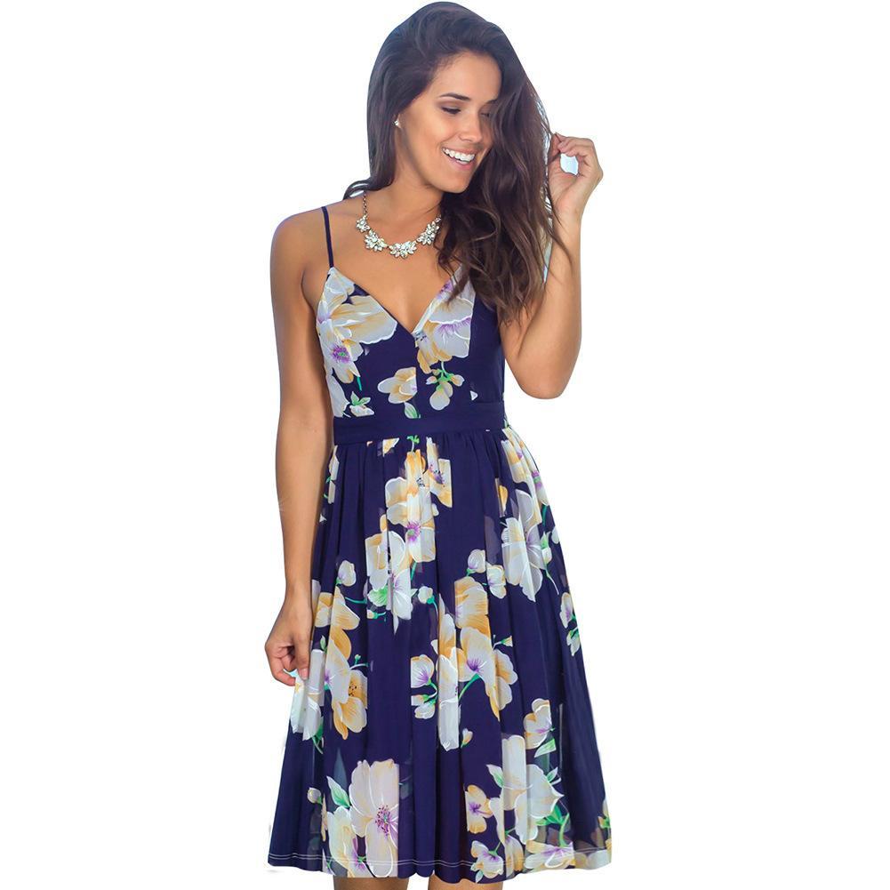 Summer European and American pop fashion women's print beach Sling Dress