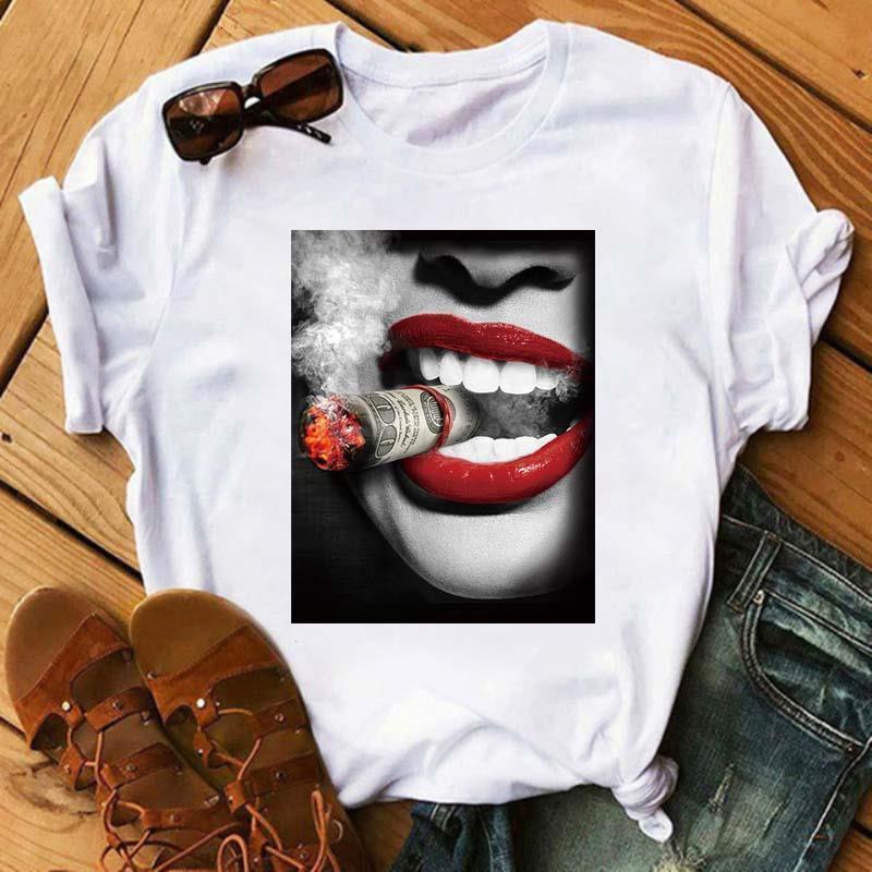 Женщины сексуальные губы футболка битник Tumblr роза алмазная змея губы напечатаны женская футболка повседневная негабаритные вершины