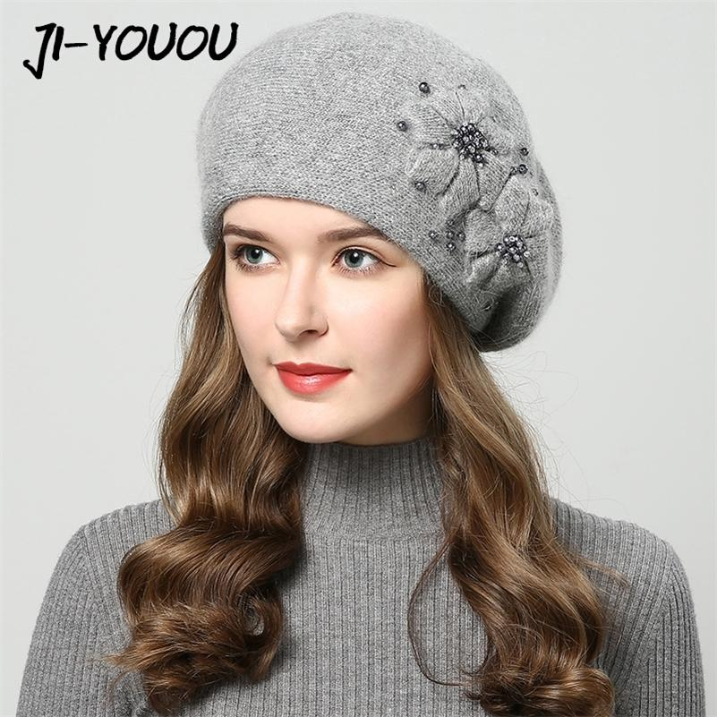 Chapeaux d'hiver pour femmes chapeaux avec strass chapeaux de fourrure de lapin pour chapeau tricoté féminin Bonnet Beanie Femme Beanies 201215