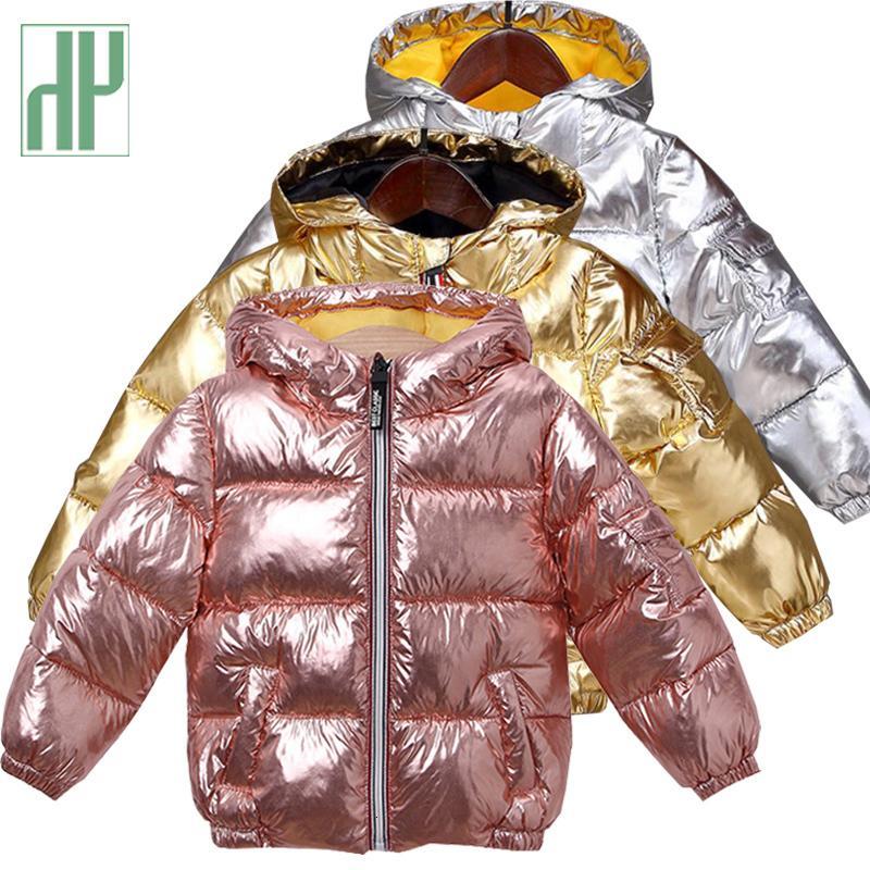 HH Boys winter kids cotton coat Waterproof snowsuit pink Gold silver jacket Hooded parka girls down coats