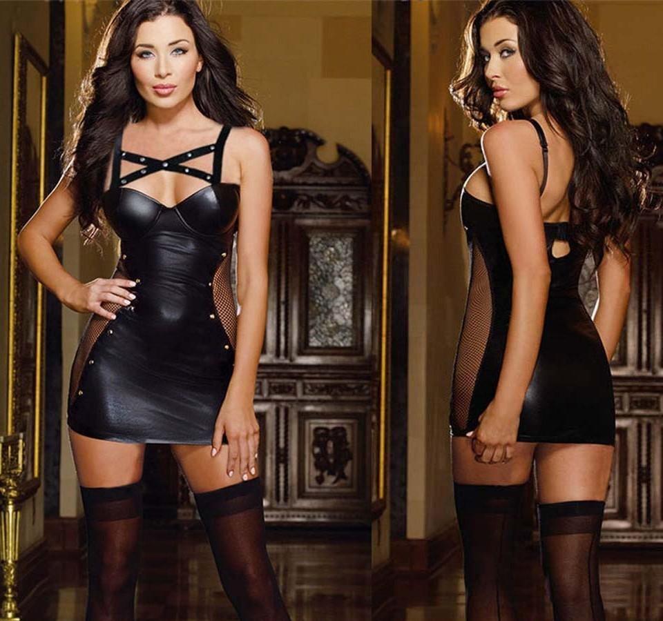 HGTE 섹시한 가짜 가죽 스트리퍼 착용 블랙 라텍스 고양이 의상 에로틱 Catsuit Pvc 비욘세 드레스 섹스 양복 할로윈 에로틱 드레스 T200707
