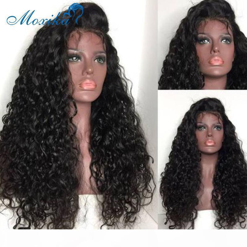 Peluca de onda de agua Frente de encaje Pelucas para el cabello humano Brazillian Pelucas de pelo 4x4 13x4 13x1 Remy 150 180 Peluca de encaje de nudos preplucados y blanqueados