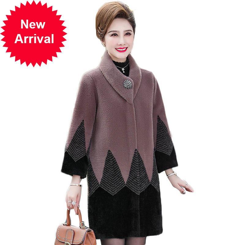 Mujeres de invierno de alta calidad de alta calidad Mink Cashmere abrigo de cachemira noble Madre de mediana edad de punto Cardigan suéter chaqueta W2213
