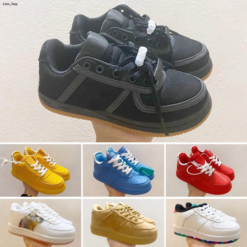 Дешевые дети классические 1 дизайнерские туфли с высоким вырезом детей пряжка ремешка ботинка касса один enfant кроссовки кожаные баскетбольные тренажеры size22-35