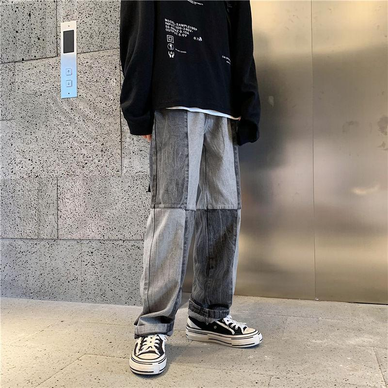 2020 Herbst und Winter Neue Jugendliche Beliebte Männer Farbe Matching Koreanische Jeans Mode Lässig Allgleiches Gerade-Beinhosen