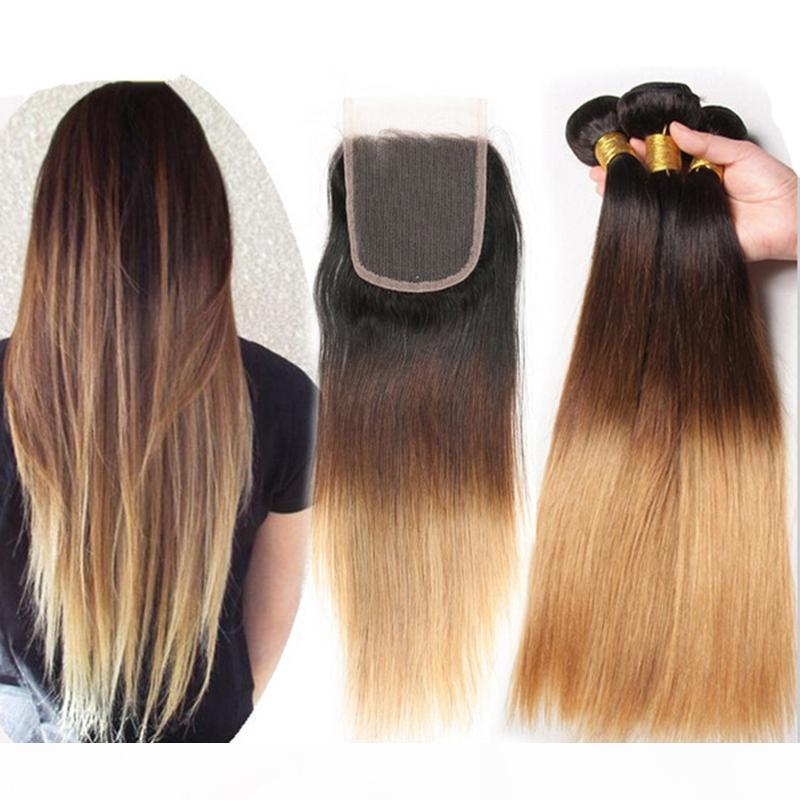 8A Grade Ombre Hair Extensions #1B 4 27 Honey Blonde Ombre Virgin Peruvian Hair With Lace Closure Silky Straight Human Hair Weave Bundles