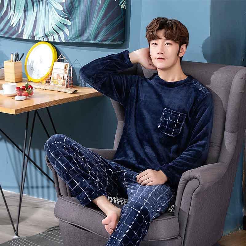 2020 Winter Langarm Dicke Warm Flanell Pyjama Sets für Männer Korallen Samt Sleepwear Anzug Pyjamas Indoor Wear Home Kleidung
