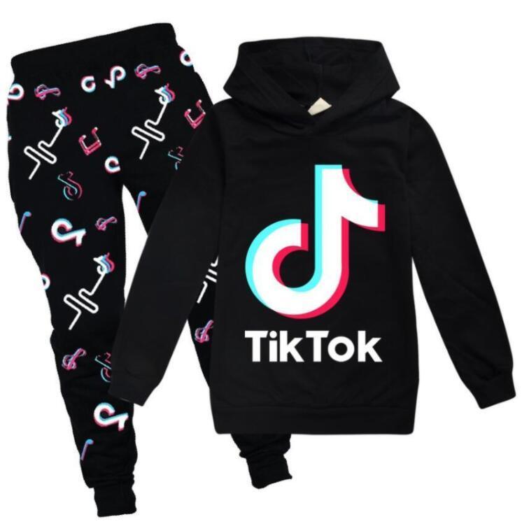 تيك تيك مجموعة ل كبير صبي فتاة رياضية ملابس الخريف الشتاء tiktok كيد مقنع البلوز + طباعة بانت 2 قطعة الزي الطفل الرياضة البدلة