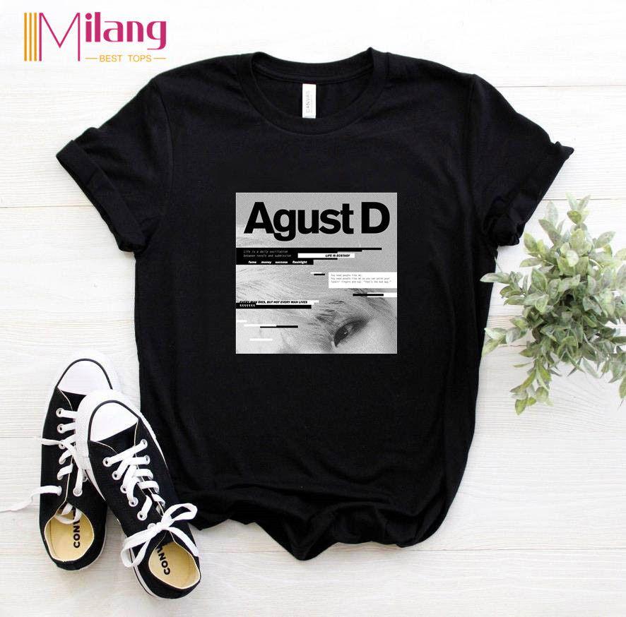T-shirts de manga Verão Mulheres feminino curto Agust Tees 2020 d Marca Preto Vogue Escolha Tops roupa da menina