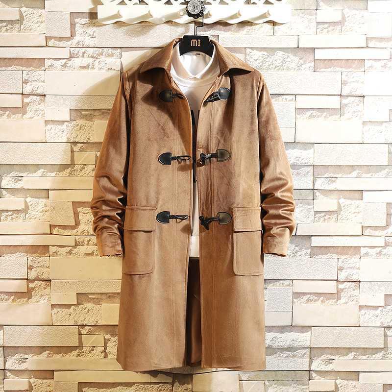 Men's Trench Coats 2021 Mens Overcoat Long Jacket Men Slim Solid Wild Turn-down Collar Casual Windbreaker Male Horn Button Coat M-5XL1