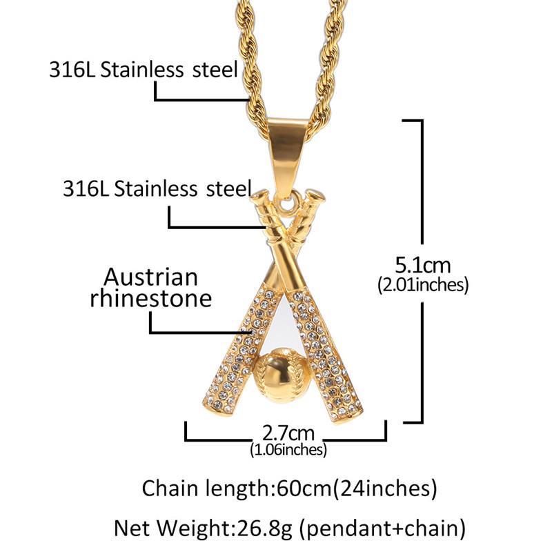 Collar chapado en oro acero inoxidable con incrustaciones de diamantes de béisbol de diamantes de béisbol de la joyería de hip hop de hip hop accesorios unisex