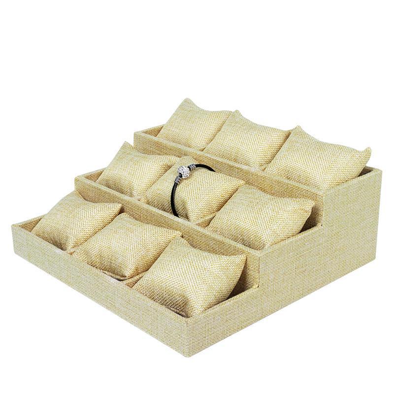 Großhandel langlebige beige Leinenleiter-Armband-Display-Kissen für Case Bangle-Anklet-Armbanduhr-Halter Schmuck-Counter-Organizer