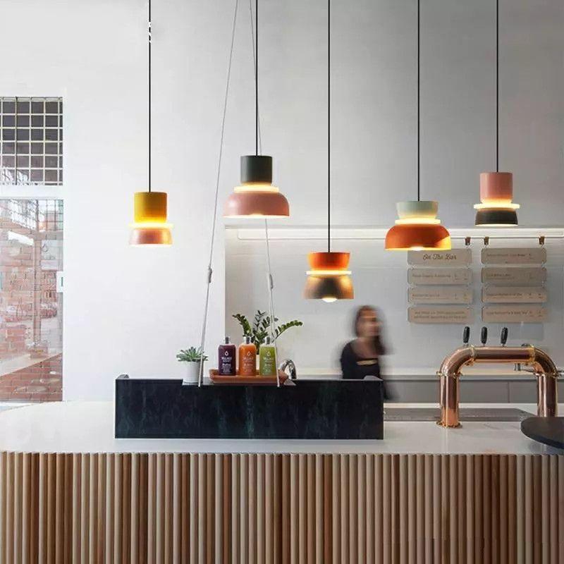 Luz do brilho do designer Luzes de pingente moderno simples luzes halo halo halo loft lustres makaron lamparas iluminação