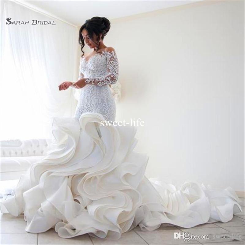 زائد حجم حورية البحر الدانتيل الأورجانزا تكدرت طويلة الأكمام vestido دي noiva رومانسية مخصص حجم فساتين الزفاف