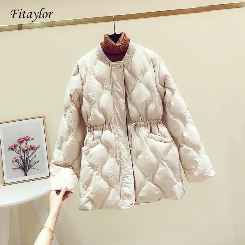 FitAylor New Winter Chaquetas de algodón acolchado Argyle Parkas Mujeres Slim Abrigos Chaqueta Femenino Casual Sash Anea Up Outwear1