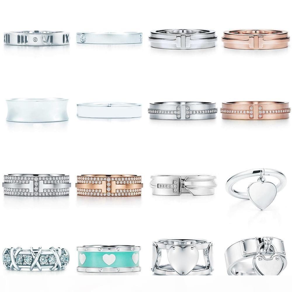 Neue 100% 925 Sterling Silber Blau Herz Klassische Brief Logo Zirkon TIF Ring Farbe Rose Gold Frauen Original Modeschmuck Geschenk