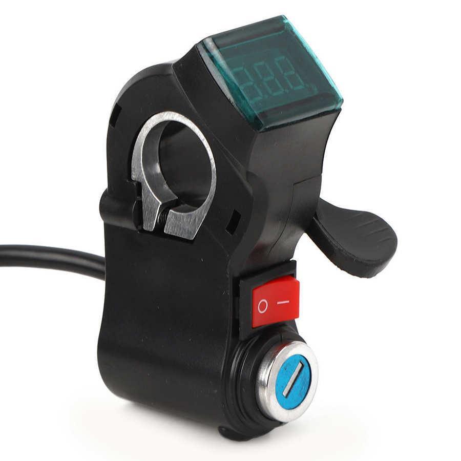 Электрические велосипедные руль на руслях дросселя ускоритель Grip E-Bike Scooter Thumb дроссель с ключом замок включен / выключенный ЖК-дисплей