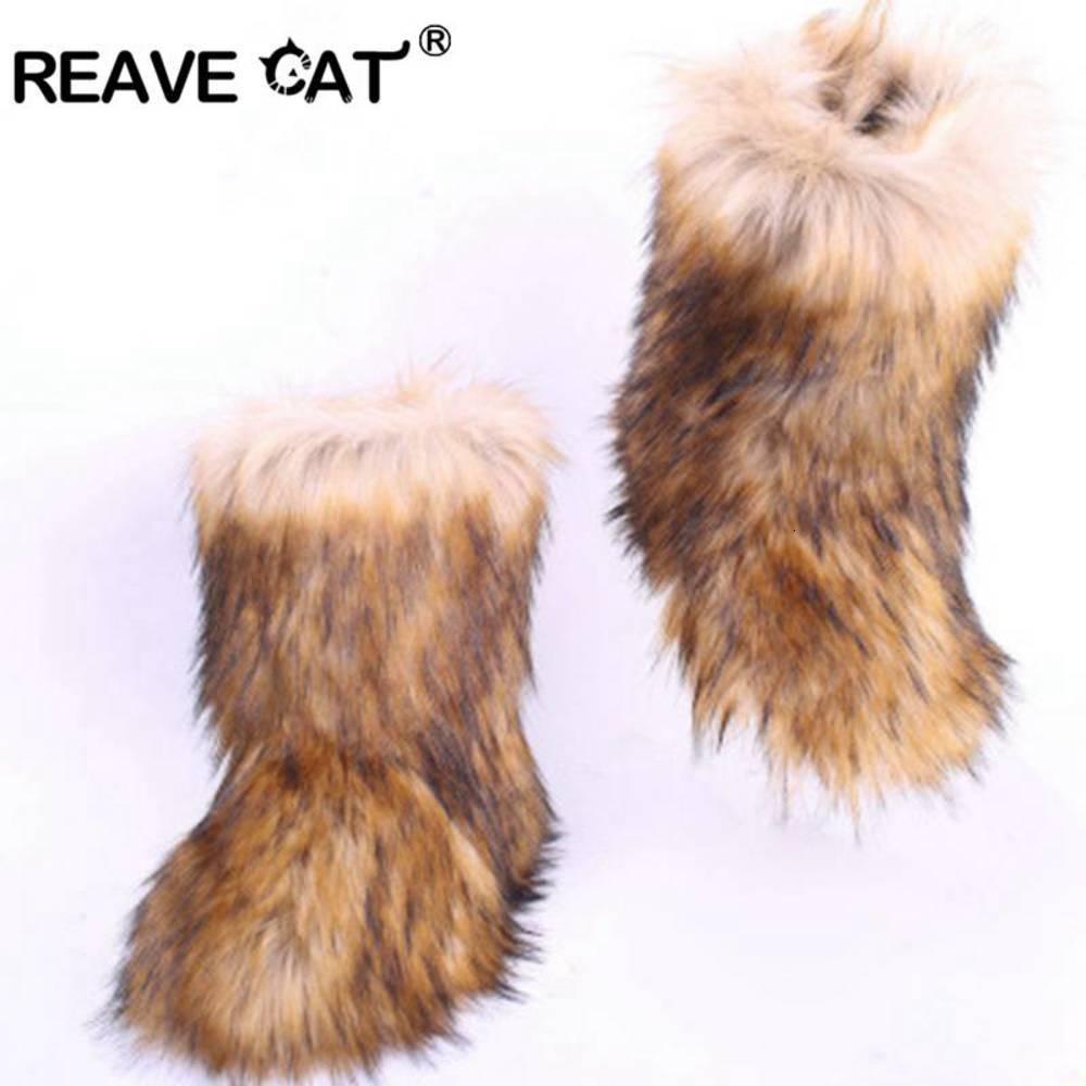 ريد القط فروي الثلوج مع حقيبة عقال أحذية الشتاء الفاخرة للنساء أحذية عالية التمهيد الفراء