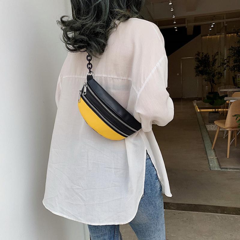 Fashion Women's Women's Cintura Senhoras Cadeia Bag 2020 Novos Pacotes Sólidos Cintura Crossbody Bag Handy Fanny Pack Banana Pocket Feminino LJ201023