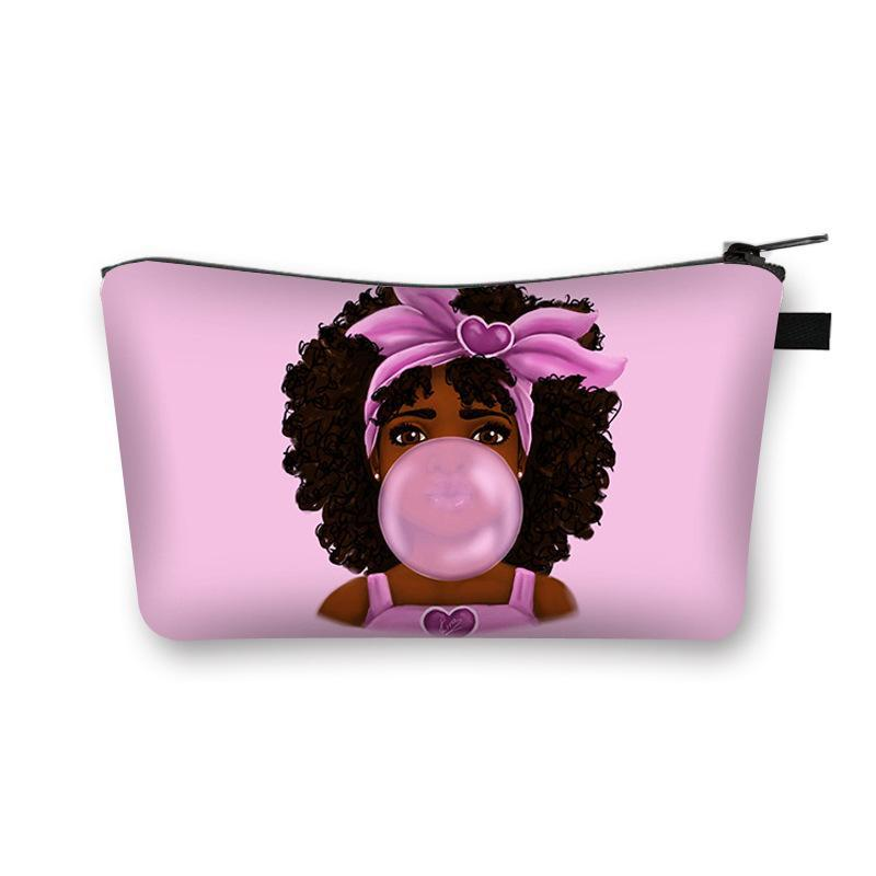 Cute Bags Girl Print Cosmetic Case Make Women Fashion Makeup Afro Ladies Toiletry Female Bags Africa Organizer Travel Up Bag Rghkg