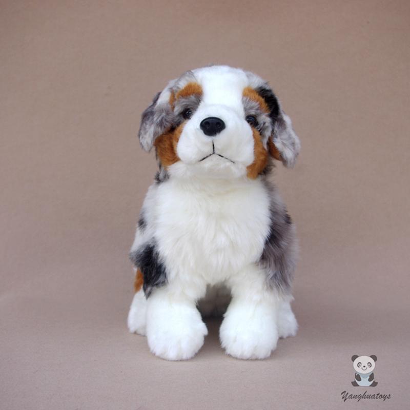 Bonito de pelúcia animais brinquedo real vida pelúcia brinquedos macio feriado presentes australianos pastor cães boneca y1209