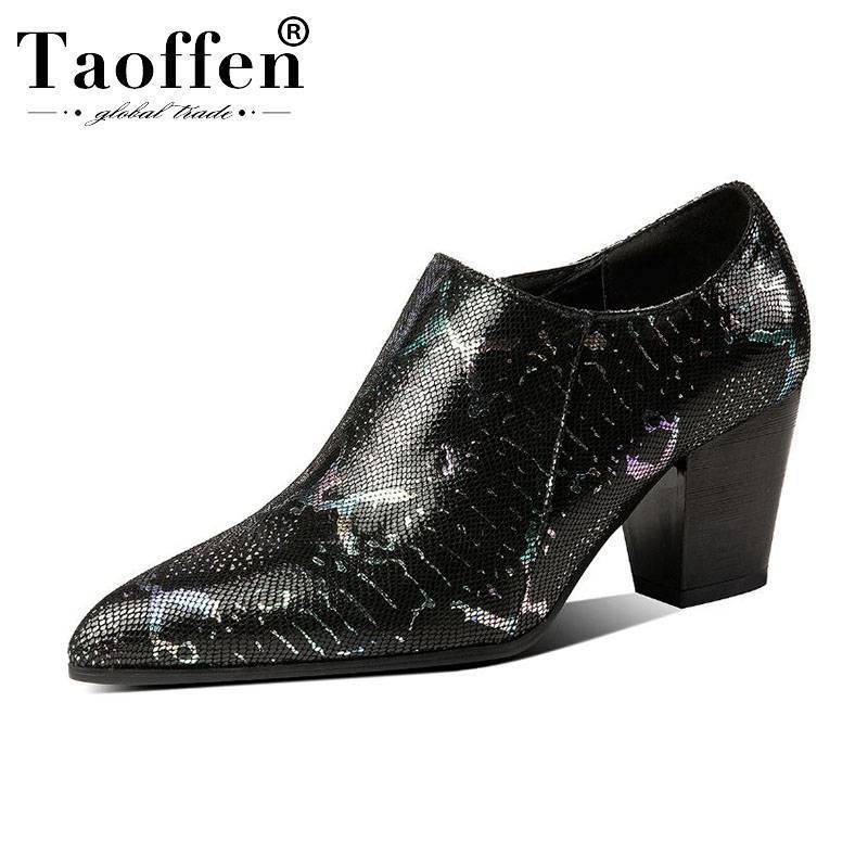 Taoffen 여성 펌프 진짜 가죽 뱀 패턴 신발 지퍼 오피스 레이디 정장 드레스 신발 여성 패션 펌프 크기 33-43