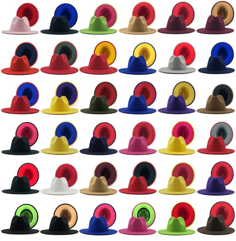 Männer Frauen Panama Cap Jazz Formale Hut Dame Filz Fedora Hüte Mode Patchwork Breite Krempe Caps Trilby Chapeau Herbst Winterhut