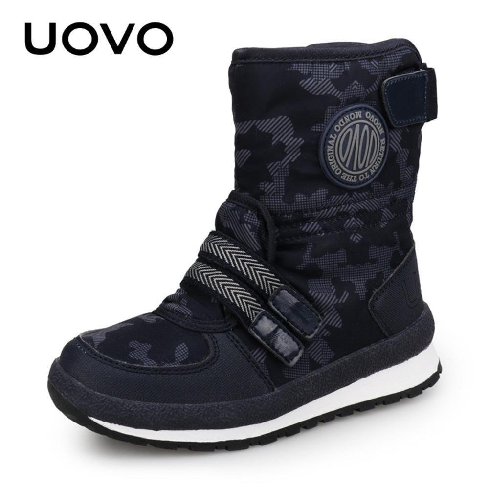 Uovo 2020 Nouvelle arrivée Enfants Bottes de neige pour garçons et filles Chaussures d'hiver chaudes Mode Moyen-veaux Enfants Chaussures Taille EUR # 30-38 J1209