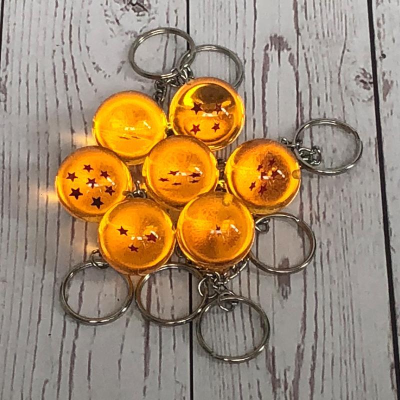 Anime Goku Dragão Super Keychain 3D 1-7 Stars Cosplay Cristal Ball Chain Coleção Brinquedo Presente Chave Chave