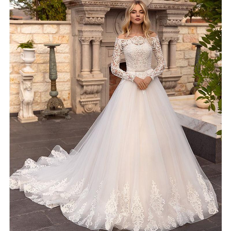 Eleganti abiti da sposa in campagna 2021 Appliques pizzo A Abiti da sposa a maniche lunghe a maniche lunghe spalla Vestido de Fiesta de boda