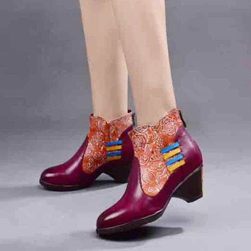 Сапоги ретро стиль корова полное зерно натуральные кожаные ботинки лодыжки женщин обувь цветы круглые ноги езда для зимы 19