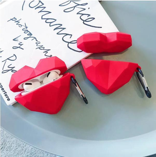 Para Airpods Pro 3 2 1 Caso Forma Coração TPU Sem Fio Bluetooth Headphones Capa protetora para ar Pods Pro Case com gancho de metal