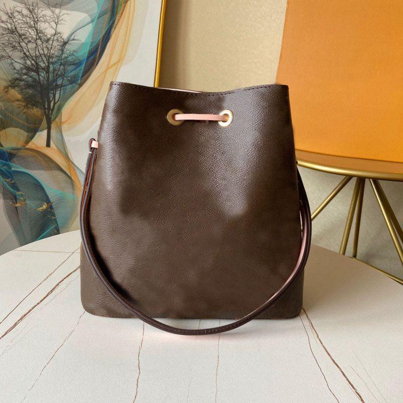 2020 Mulheres Bolsas Neonoe Ombro Sacos de Couro Real Bucket Bucket Impressão Crossbody Bag Bolsa Bolsa