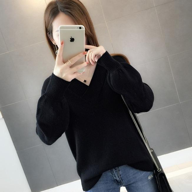 Épaissement tricoté Sweater Solide Pull Couleur Femme Automne / Hiver Tempéramment Loose V-Colded Top