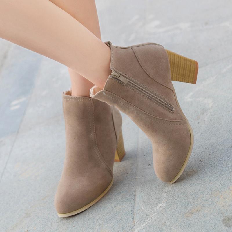 Mulheres sapatos rebanho botas de tornozelo redonda primavera outono botas femininas festa festa ocidental trecho de tecido botas alta heelsj1203