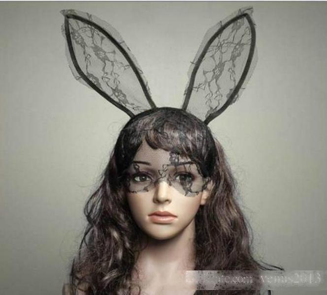 Cosplay cara ojo de encaje velo máscara diadema conejo conejito largo oído peluquero halloween fiesta fiesta elegante vestido bola mascarada apoyos nuevo regalo