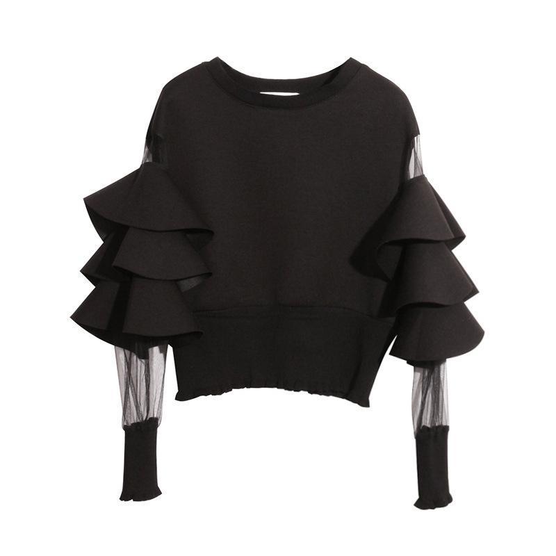 Twotwinstyle Patchwork Malla perspectiva corta mujer sudadera femenina para mujeres Top jerseys sueltos negro otoño ropa superior nuevo 2020 mx200812