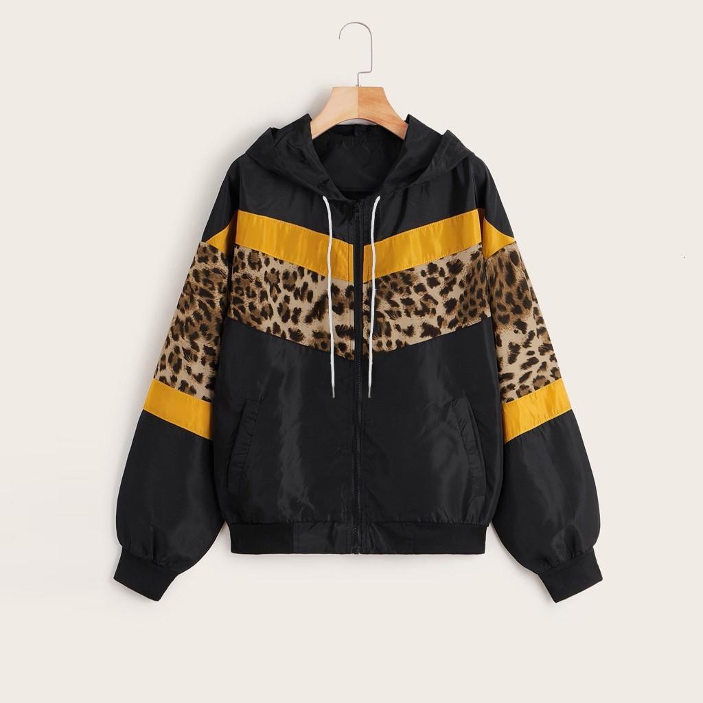2020 Nuove Donne Autunno Inverno Giacca In Pelle Giacca da donna manica lunga Leopardo sottile con cappuccio con cappuccio con cappuccio