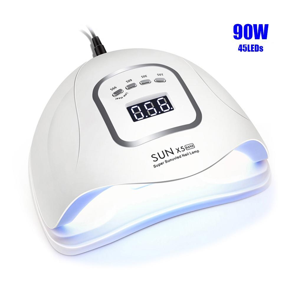 90 W SUNX5max Tırnak Kurutucu 45 ADET LED'ler UV Için LED Tırnak Lambası Jel Lehçe Için Çift Güç Hızlı Kurutma Oto Sensörü Manikür Salon Lambası 201125