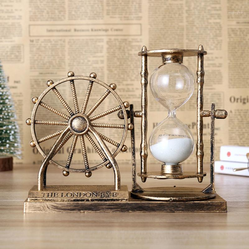 Старинные шерсы колеса Ferris красивые настольные часовые часы изысканного песка декор для домашнего офиса (золотой) 1