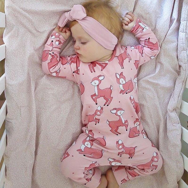 Ropa infantil Baby Girl Ramper de algodón manga larga rosa ciervo impresión impresión otoño recién nacido ropa bebé pijamas 201027